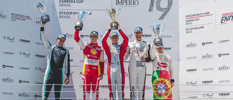 Enzo Elias conquista vitória no Estoril pela Carrera Cup 3.8, enquanto Fran Lara leva a taça da GT3 Cup 3.8