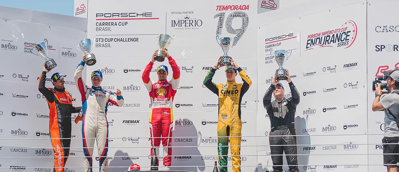 Vitor Baptista vence disputa contra Marçal Müller e Marcel Coletta para levar vitória da Carrera Cup 4.0 no Estoril; na GT3 4.0 deu Sylvio de Barros